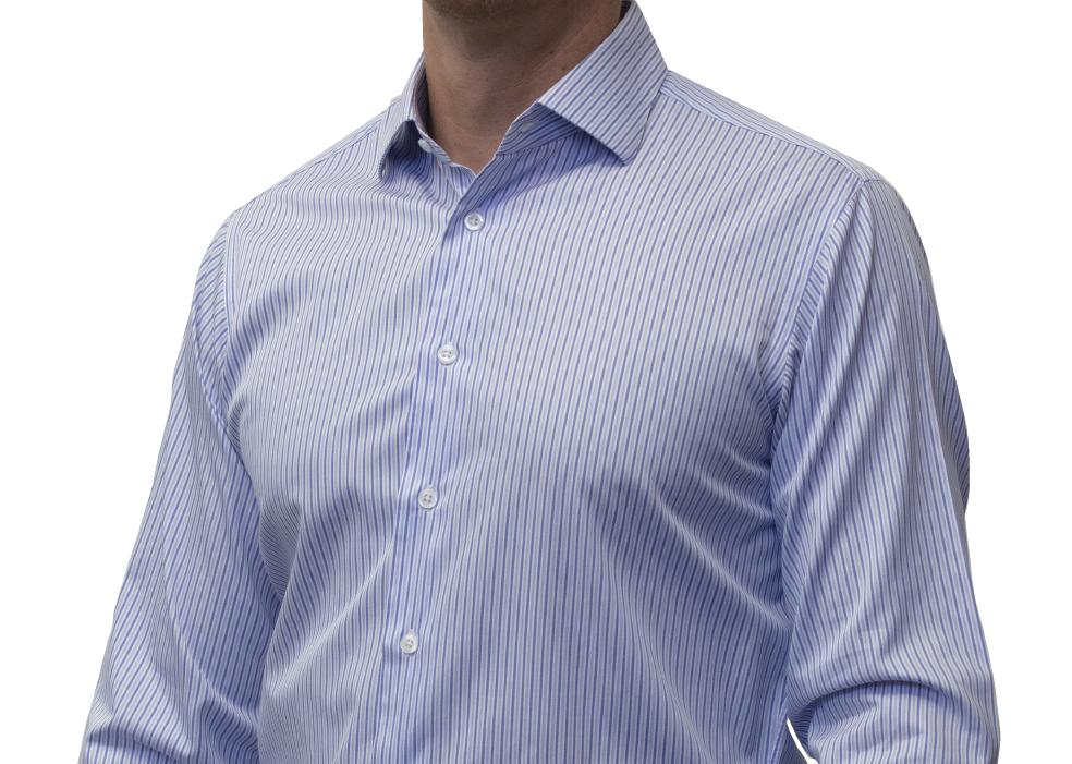 Blue stripe shirt 160s 2 ply cotton