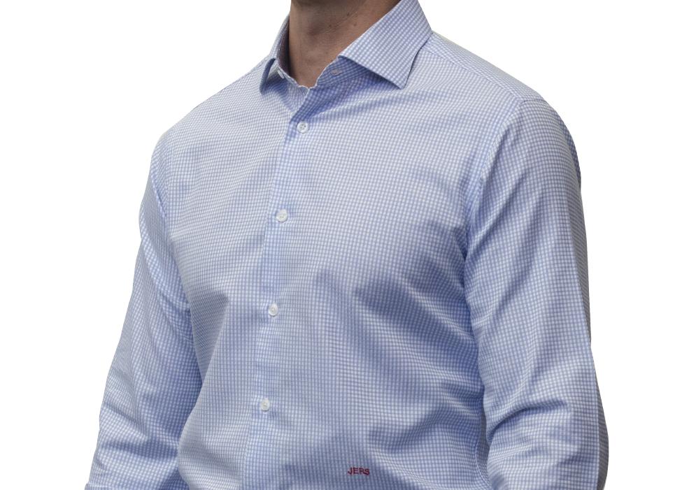 Blue check shirt 120s 2 ply cotton