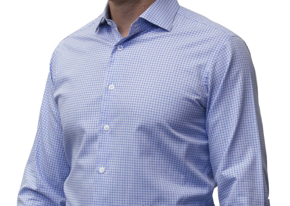 Blue check shirt 140s 2 ply cotton