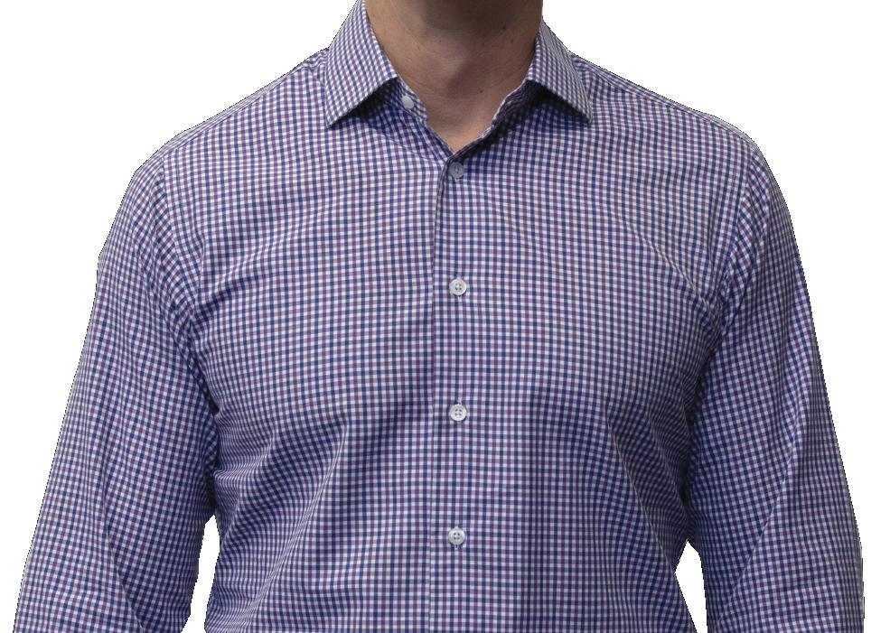 Blue purple check shirt 160s cotton