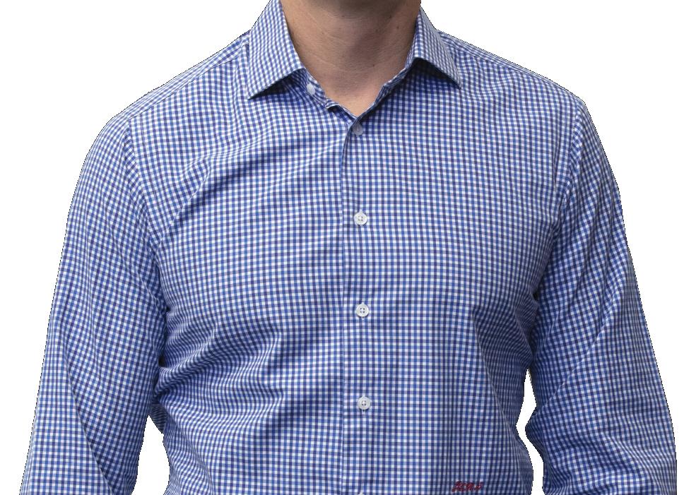 Blue black check shirt 160s cotton