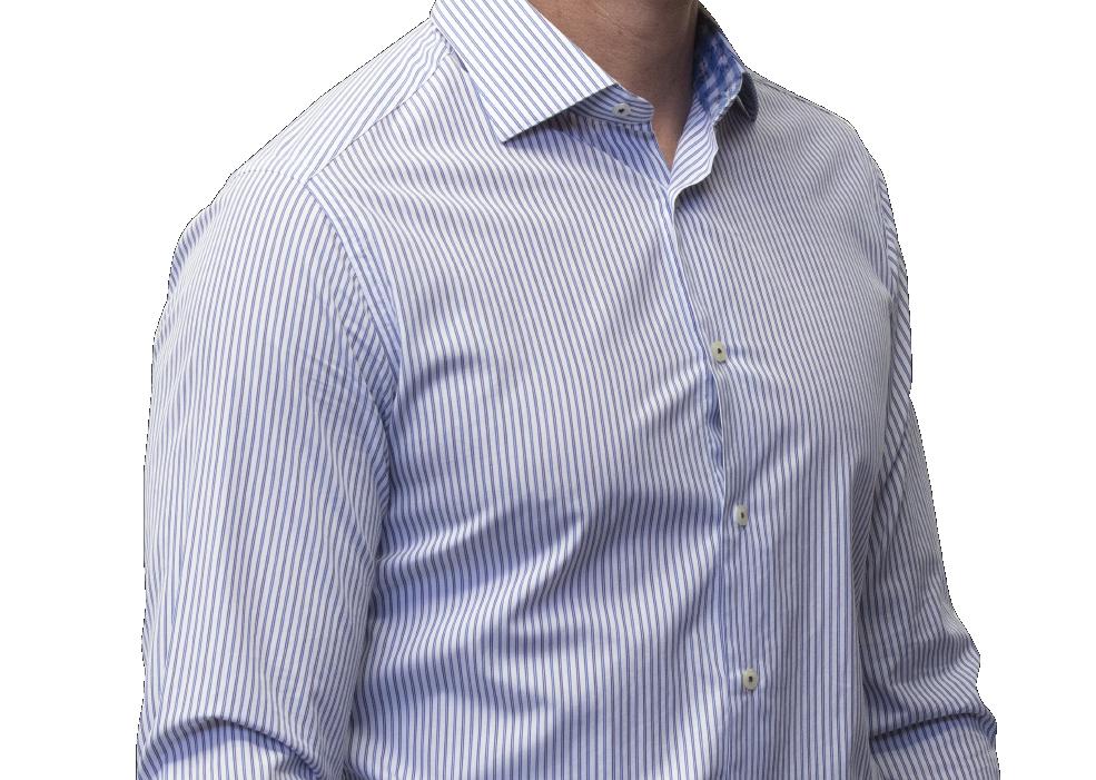 Blue stripe shirt 140s cotton