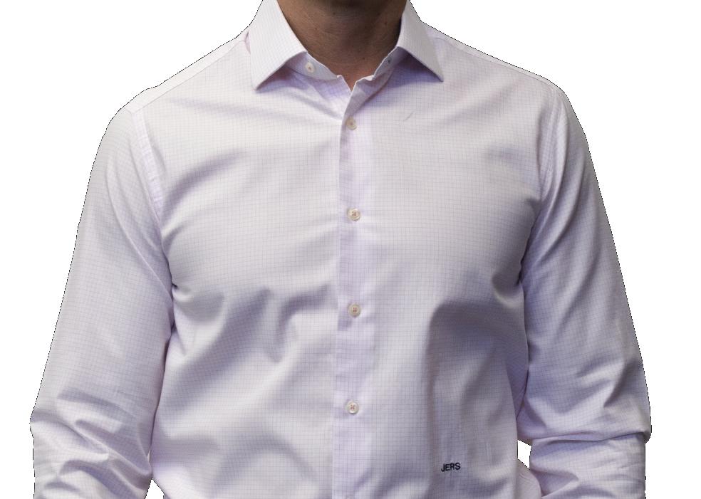 Pink check shirt 120s 2 ply cotton