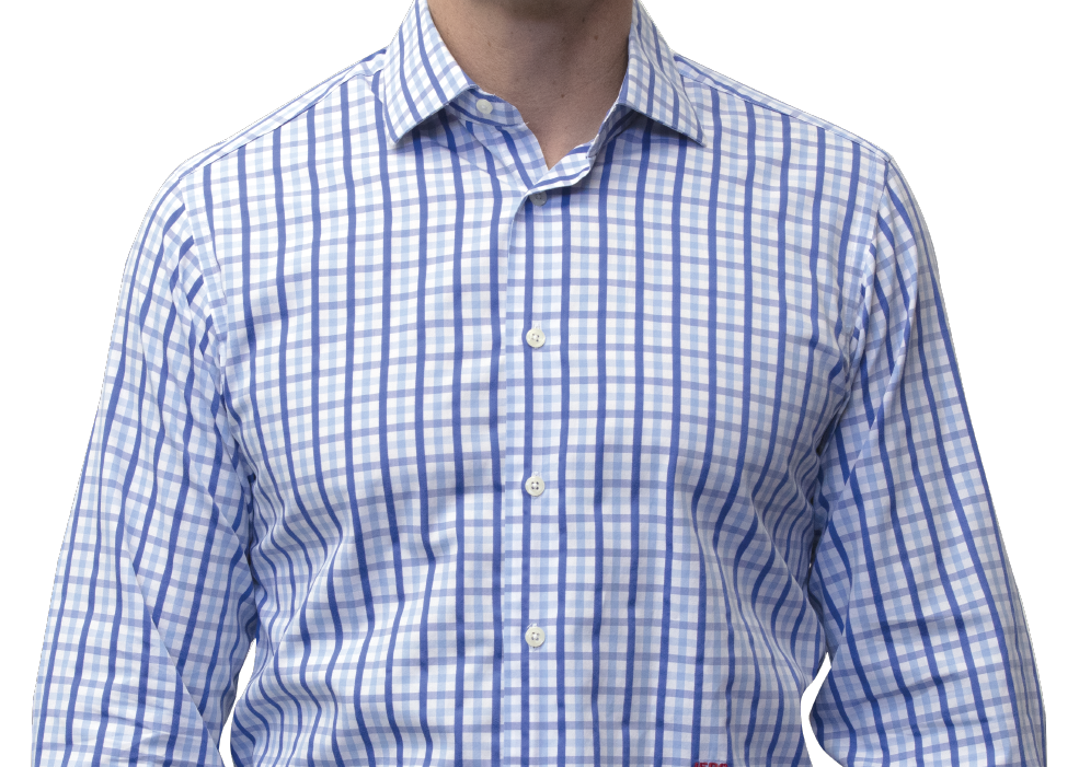 Blue check shirt 120s cotton