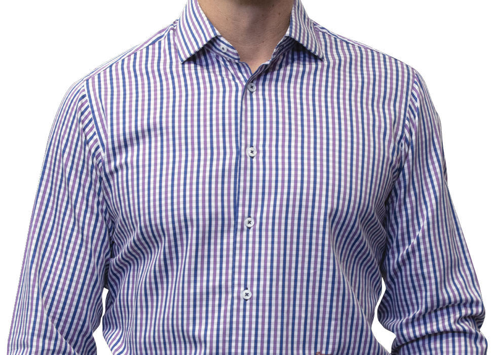 Blue purple check shirt 160s 2 ply cotton