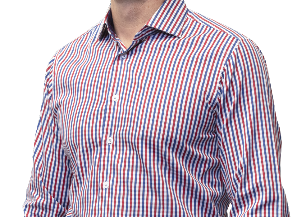 Blue red check shirt 160s 2 ply cotton