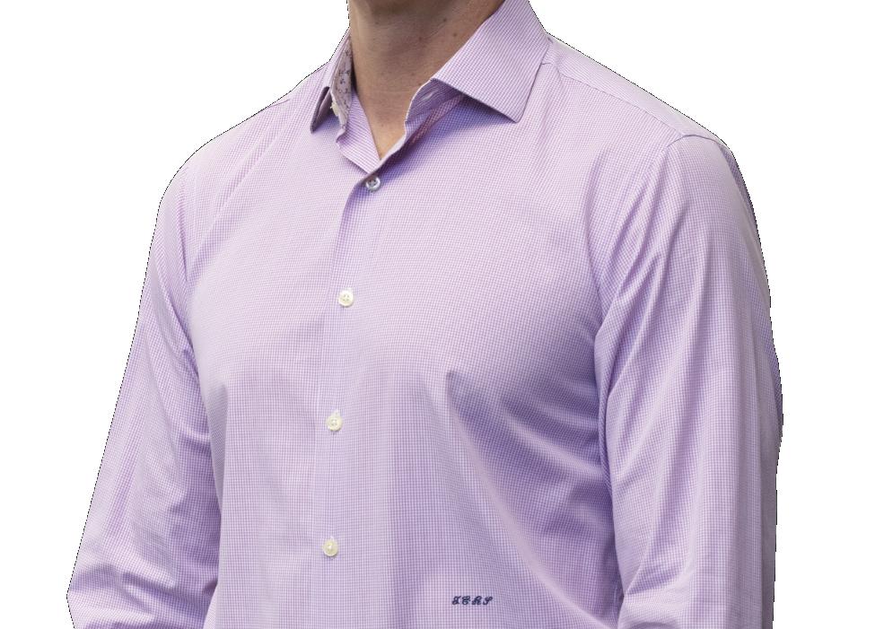 Lavender check shirt 160s 2 ply cotton