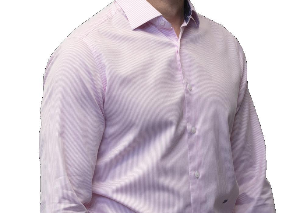 Pink stripe shirt 160s 2 ply cotton