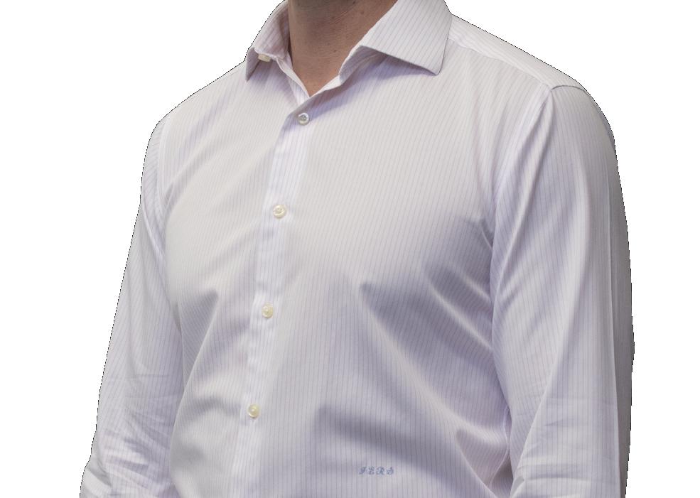 Lavender stripe shirt 140s 2 ply cotton