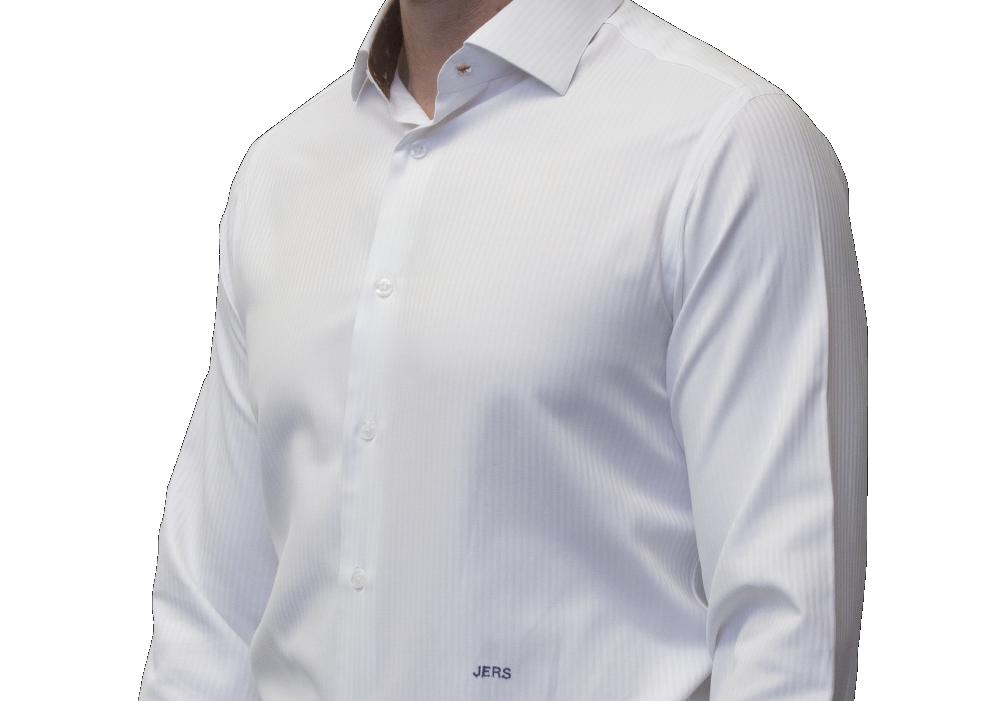 White mini herringbone  shirt 120s 2 ply cotton