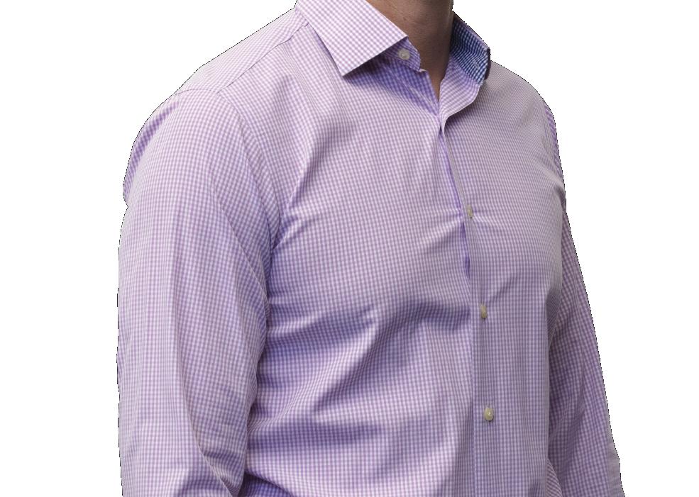 Lavender check shirt 140s 2 ply cotton