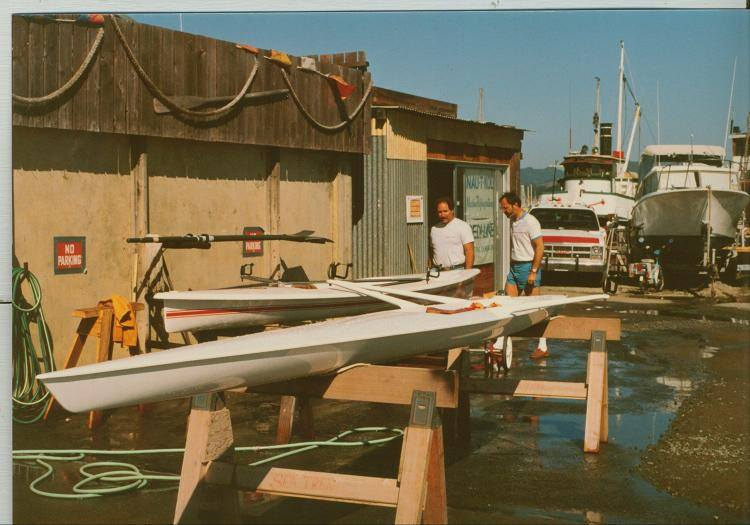 1985 - One of the first Maas Aeros at OWR - Quite a step up in performance compared to the earlier design of open water shell in the background.