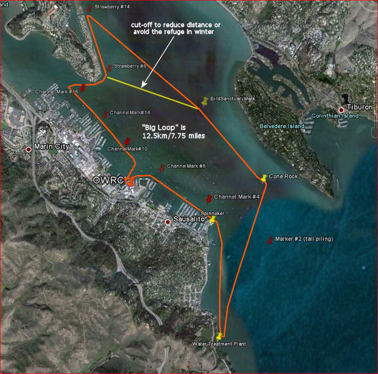 Richardson Bay 'big loop' - click to enlarge map.