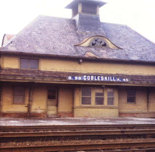 """Front center of the station. Of particular interest is the curved """"eyebrow"""" attic windows. Unlike the Cambridge and Westport stations, there were no living quarters in the attic here."""