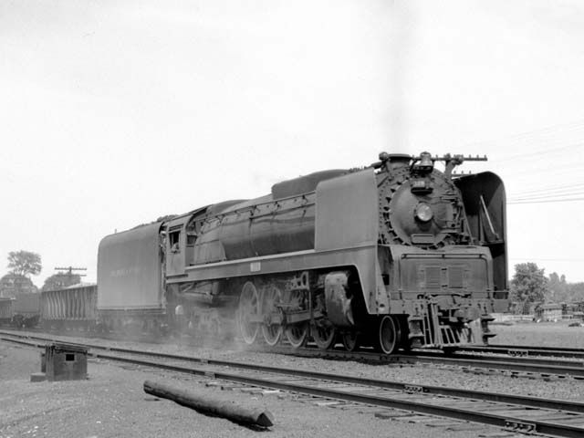 "D&H 308 TYPE:  4-8-4  CLASS:  K  DATE:  6/1/47  LOCATION:  Fort Edward, NY  NOTES:  On southbound ""RW"" freight. Built by Alco-Schenectady in 1943, Sold to Luria in August, 1953.  PHOTOGRAPHER:  Jim Wright"
