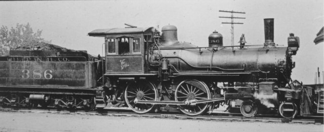 D&H 386 TYPE:  4-4-0 (Single Cab)  CLASS:  G-4b   NOTES:  Manufactured by Dickson for the Delaware & Hudson in 1889, the locomotive was rebuilt in 1897 by the D&H Oneonta Shops and was gone from the roster by January of 1917.  (John Shaw Collection)