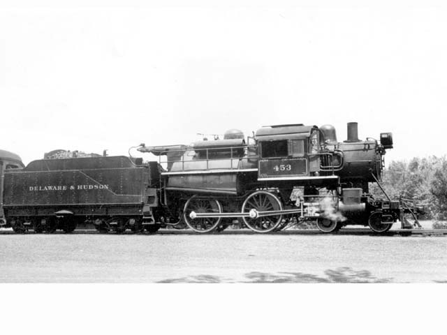 D&H 453 TYPE:  4-4-0  CLASS:  G-5  DATE:  1941  LOCATION:  North Creek, NY  PHOTOGRAPHER:  Charles Elston,  (Jim Wright Collection)