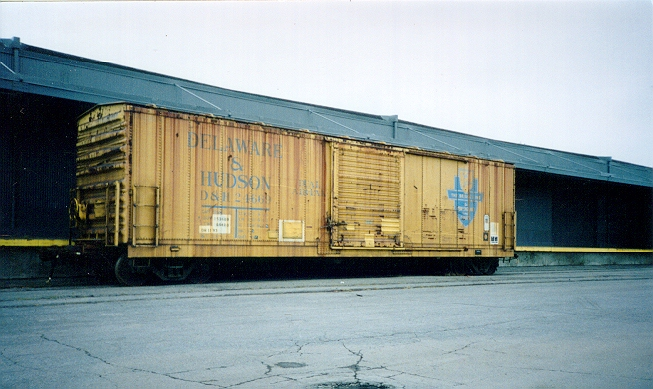 Eventually, some of the ex-RDG cars were painted into the D&H Yellow and blue 'T' scheme.  Photo from the Jim Odell collection, used by permission.