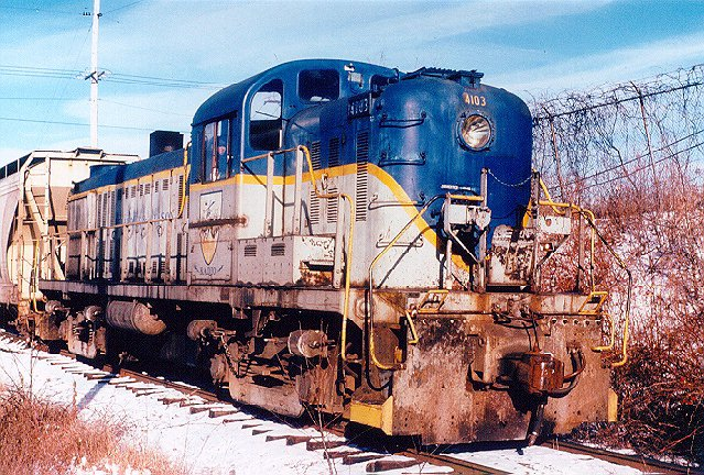 D&H 4103  Nearing the end of its life on the D&H - the only RS3 left when this photo was taken at Waterford, NY in January 1985.  Bill Mischler photo.