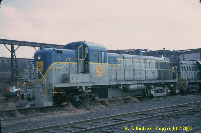 D&H 4106  In Lightning Stripe at Colonie in February, 1975 (sitting on a shop truck).  Kevin J. Endriss photo