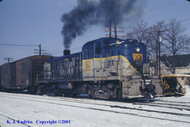 D&H 4127  In Lightning Stripe at Colonie in February, 1977.  Kevin J. Endriss photo