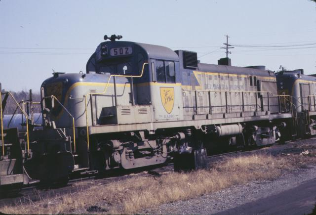 D&H 502  In Lightning Stripe at Mechanicville in March, 1977.  Kevin Endriss photo