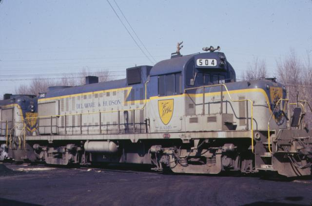 D&H 504  In Lightning Stripe at Mechanicville in March, 1977.  Kevin Endriss photo