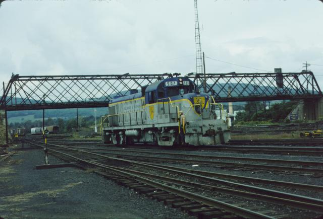 D&H 507  In Lightning Stripe at Oneonta in March, 1977.  Kevin Endriss photo