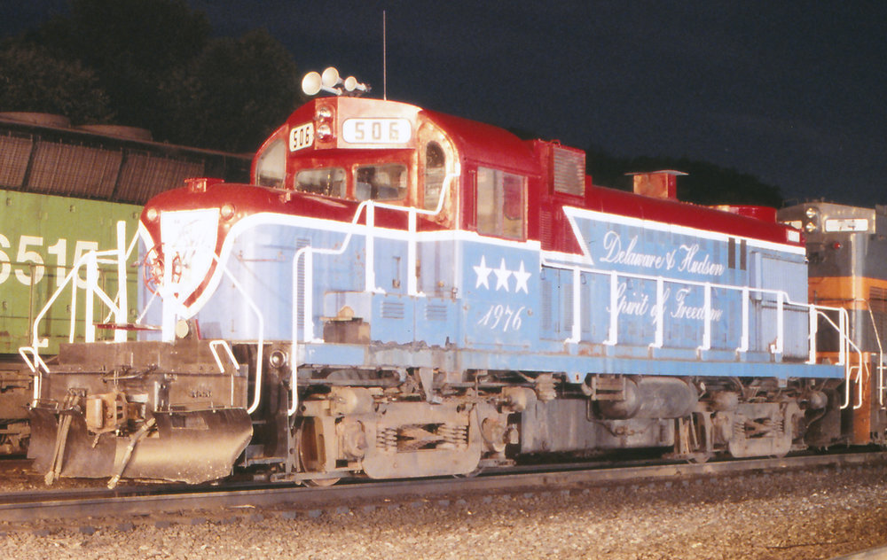D&H RS-3m #506 sits in Binghamton, NY on the night of July 7, 1990.  Reuben S. Brouse photo, The Garbely Publishing Company collection
