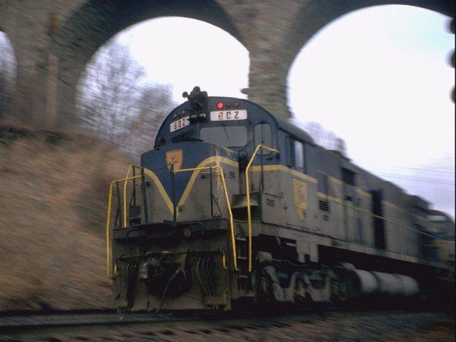 D&H 602  D&H Unit #602 making time under Starrucca Viaduct.  Photo byJean-Louis Simonet.