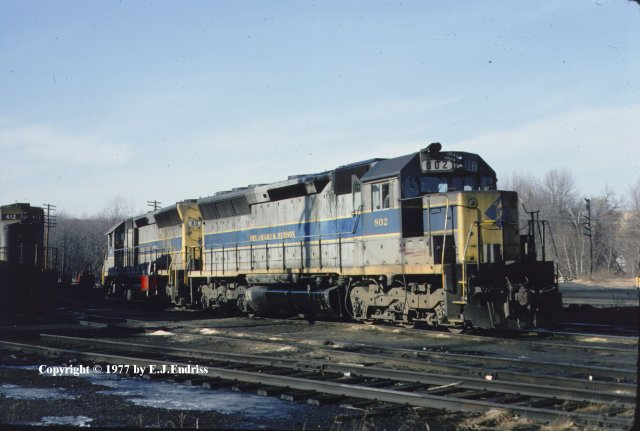 D&H 802  With #803 in Erie Lackawanna-style blue livery. 1977.  Kevin Endriss photo