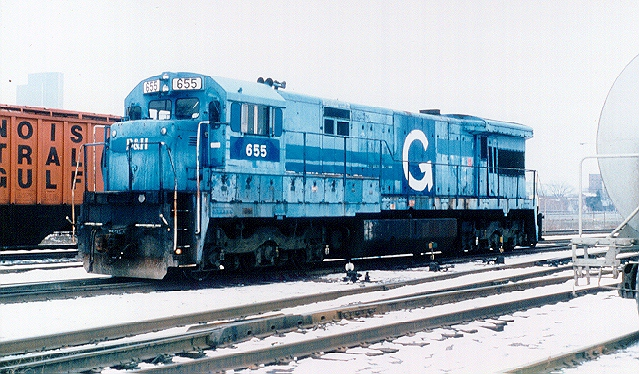 D&H 655  Fresh from Conrail and the D&H/Guilford paint shop, the 655 sits at Kenwood yard, Albany, NY in December 1985.  Bill Mischler photo
