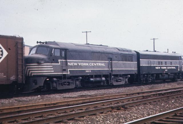 """Speaking to the mechanical failure of these Baldwin locomotives, NYC """"Babyface"""" DR-4-4-15 #3803 had already been re-engined by EMD by the time this photo was taken."""