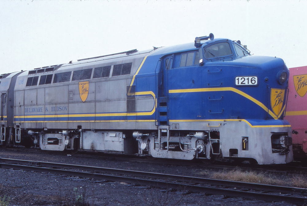 D&H RF-16 #1216 sits at Whitehall, NY on October 2, 1977.  The Garbely Publishing Company collection