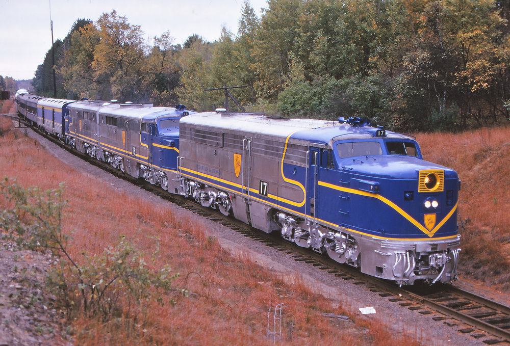 D&H PAs #17, #18, and #19 pull an excursion in 1973.  Walter Schopp photo, The Garbely Publishing Company collection