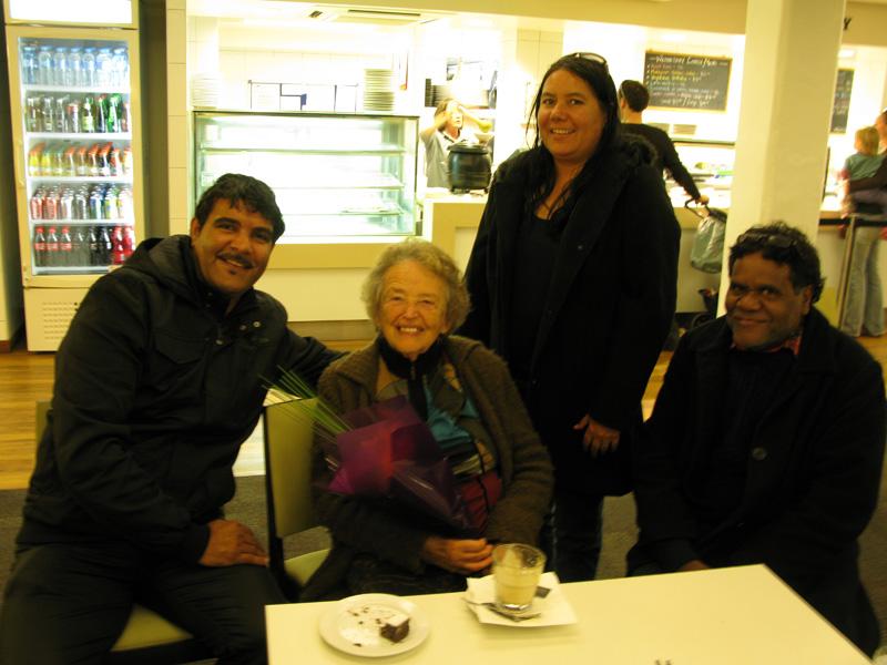 Leonard Miller, Luise Hercus, Estelle Miller, Gavin Peel at the Australian National University (ANU), May 2012