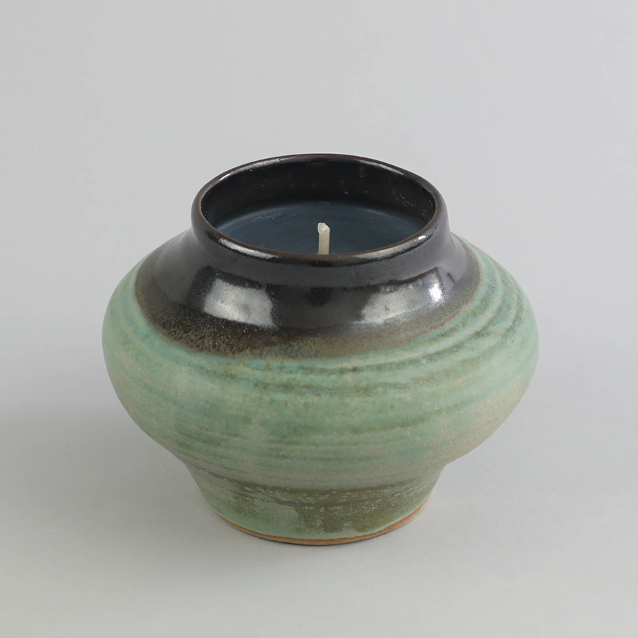 IN GOOD COMPANY x VES. Two-Tone Rounded Vessel w: Candle_11.5x13.2_Celadon_RP219_1.jpg