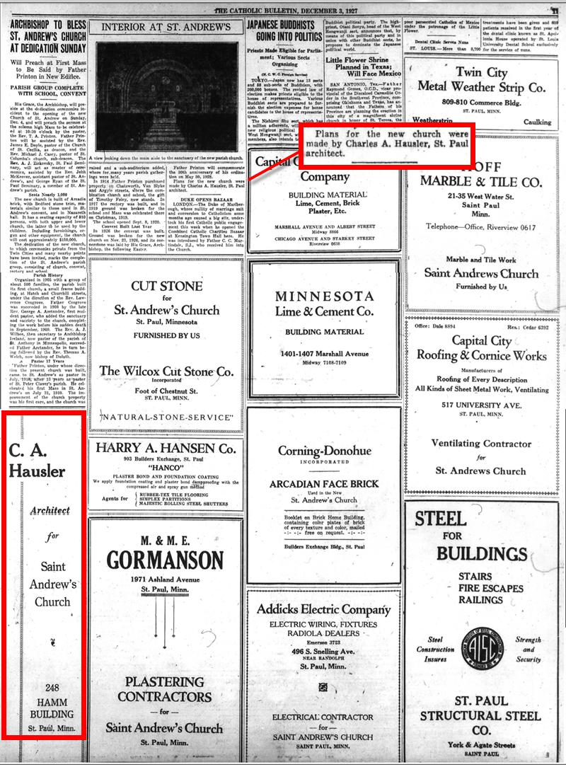 St. Andrew's advertisement, 1927