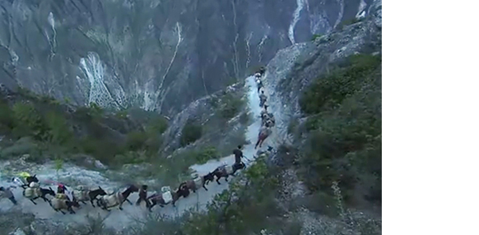 A tea caravan along a narrow path carved from mountains (Image: screenshot from a Korean documentary)