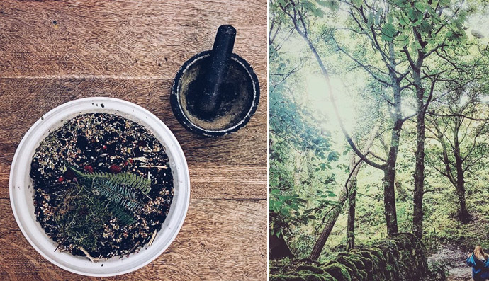 Left: another batch of ingredients being grounded. Right: A late summer forest forage.