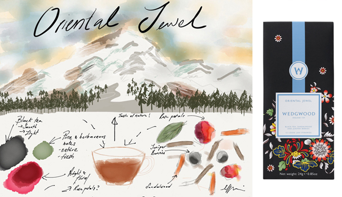 Bernadine's inspiration and sketch for Wedgwood's Wonderlust collection – Oriental Jewel blend.