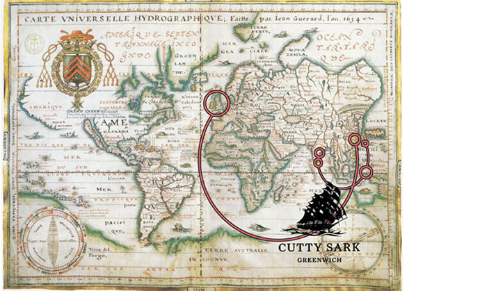 Map showing the passage of a typica tea clipper, Cutty Sark, from China to England