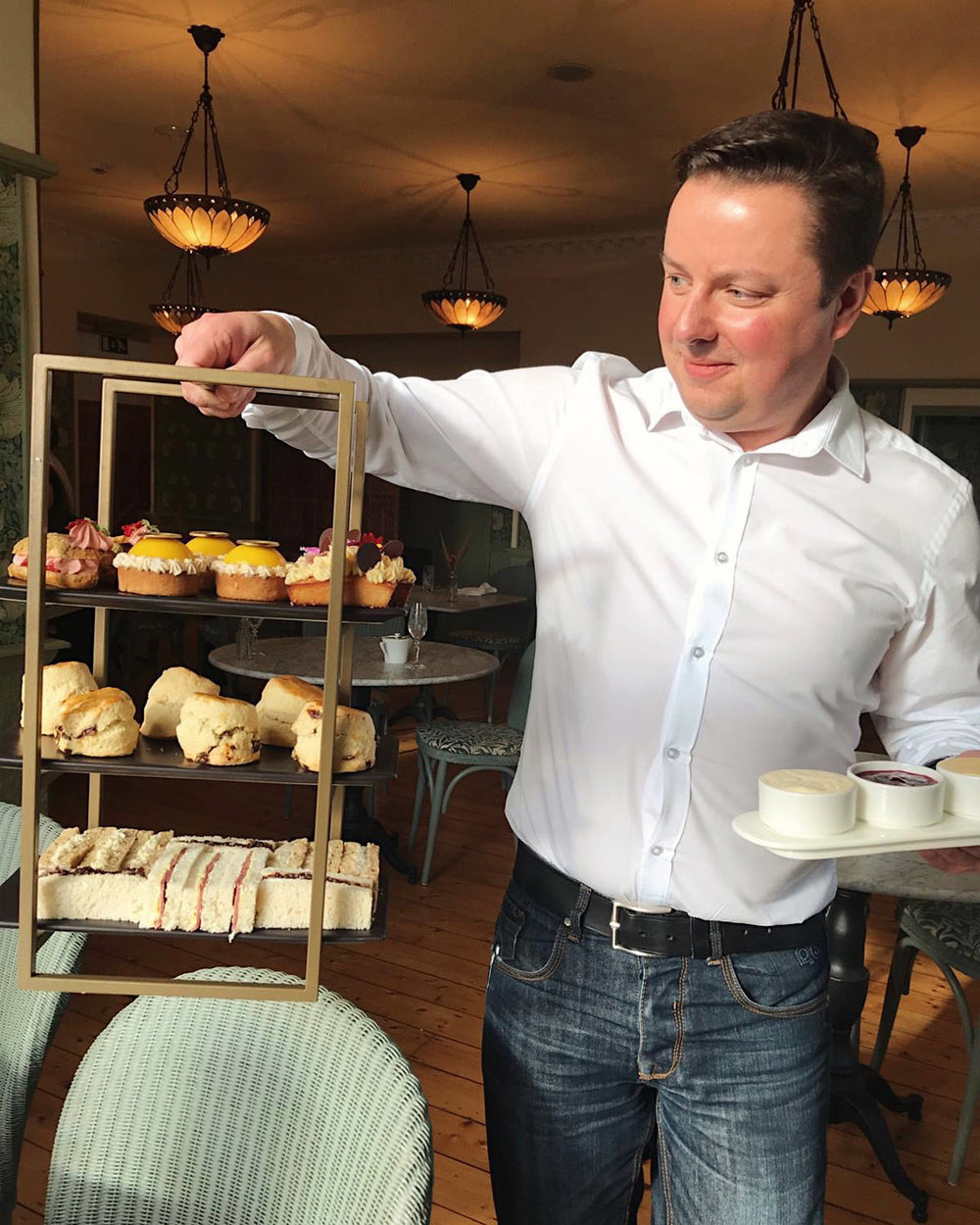 Michael Vanheste and Arts & Craft period three tier afternoon tea stand.