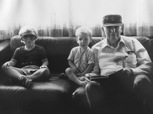 Joe with grandsons Tommy (left) and Matt (right) in Manhattan Beach, 1989