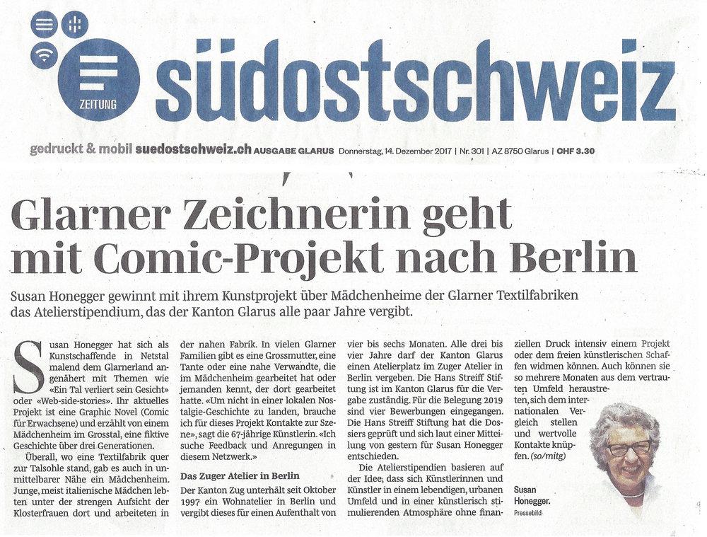 Glarner Zeichnerin geht mit Comic-Projekt nach Berlin