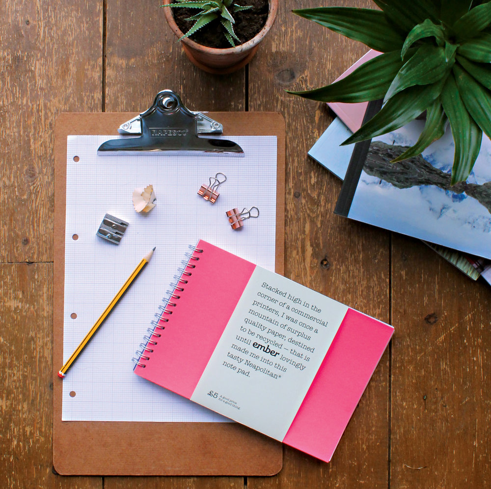 Help to keep ember burning by grabbing a copy of our wonderful Neapolitan Note Pad. - Here at ember, we too are ambitious up+recycling designer makers. The Neapolitan Note Pad is hopefully the first of many 'ember editions'. All proceeds will be used to keep ember burning.