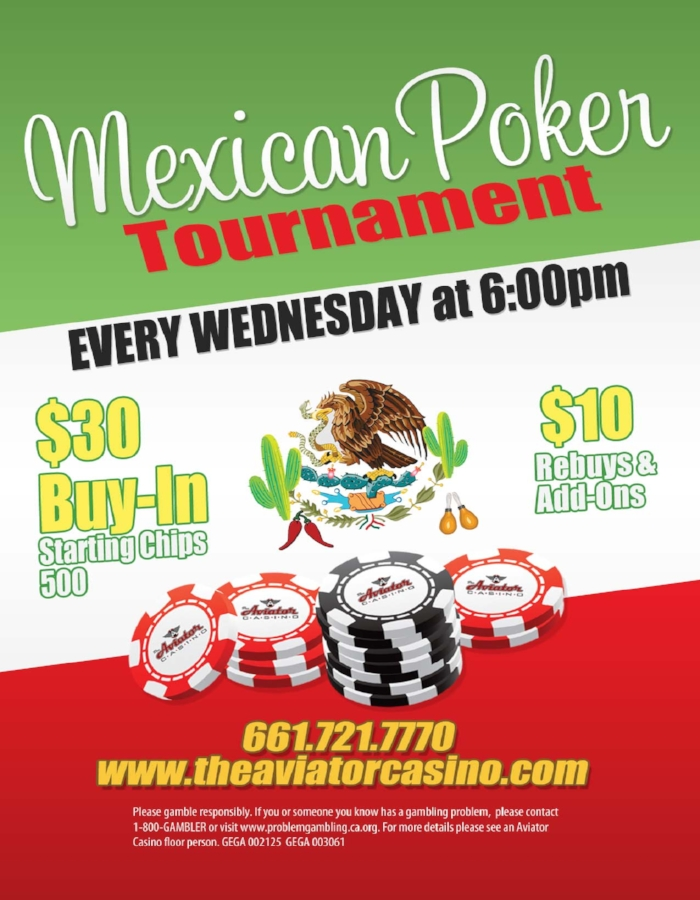 Wednesday 6PM - $30 buy-in, $10 re-buys & add-ons! Seats fill up fast so call the casino at 661-721-7770 to reserve yours!