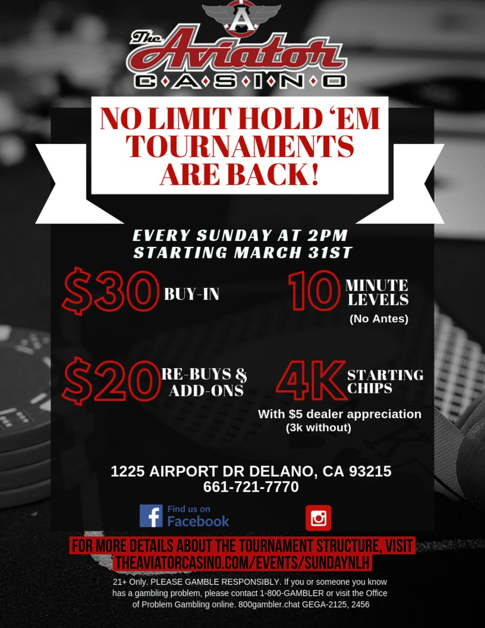 Sunday at 2PM - No Limit Hold 'Em Tournaments are back starting March 31st at 2PM! It's only a $30 buy-in!