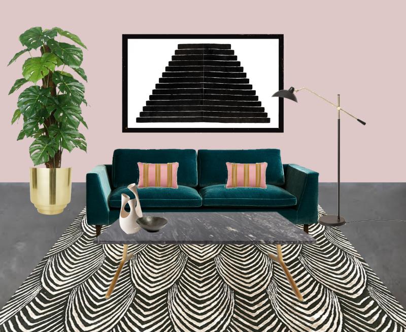 teal_sofa_pink_walls_living_room