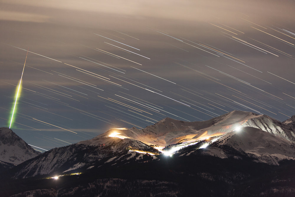 Meteor and star trails at Marmot Basin